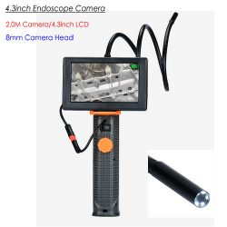 OMG Endoscope Camera, 4.3inch, HD 2.0M Camera / 8mm Head, LED Nightvision & ficklampa, vattentät (END008)