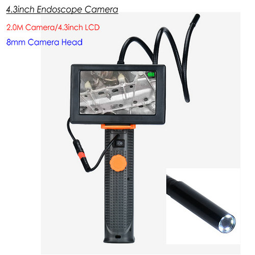 Càmera endoscopi OMG, 4.3inch, càmera HD 2.0M / capçal 8mm, LED Nightvision i llanterna, impermeable (END008)
