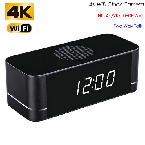 4K WIFI Clock Camera, Built Speaker Two Way Talk, 3000mAh Battery - 1