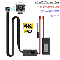 4K WIFI Pinhole SPY piilotettu kamera, jossa on yönäkymä, 60cm Pituus SD-kortti Max 128G (SPY265) - S $ 328