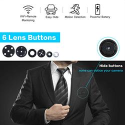 WiFi SPY Button Camera, Bumuo sa baterya 600mAh [1080P / H.264] (SPY259) - S $ 258