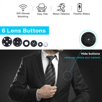 OMG WIFI SPY Button Camera, Bumuo sa baterya na 600mAh [1080P / H.264] (SPY259)