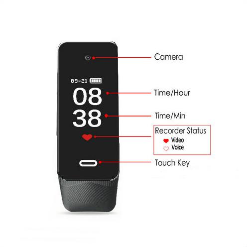 I-Wristband Hlola ikhamera efihliweyo, i-TF Max 128G, i-Battery Rec Time 90min-2