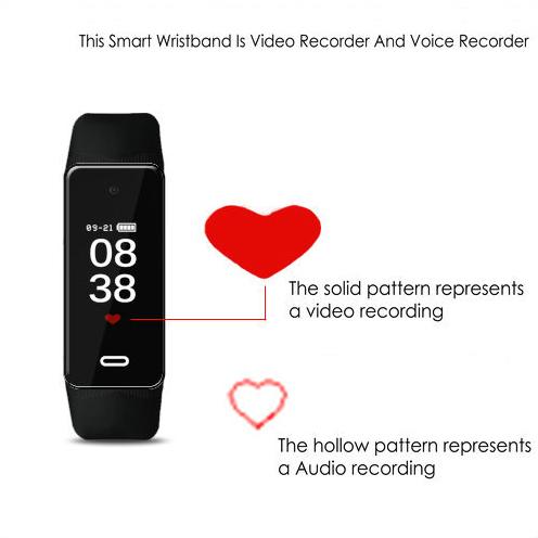 I-Wristband Hlola ikhamera efihliweyo, i-TF Max 128G, i-Battery Rec Time 90min-4