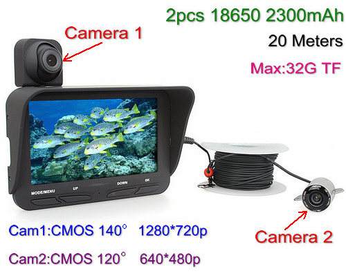 "O dan Camera Dŵr DVR, Camera Deuol, 4.3 ""LCD, 720P & 480P, 20meters (SPY276)"