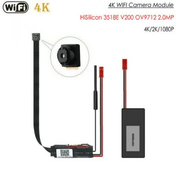 4K WIFI ماژول دوربین، HiSilicon 3518E V200، OV9712 2.0MP، بدون شبح - 1