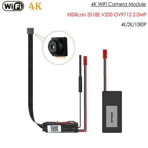 4K WIFI מודול מצלמה, HiSilicon 3518E V200, OV9712 2.0MP, ללא Nightvision - 1