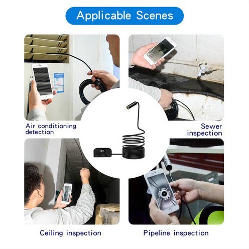 I-Focus Focus ye-WIFI ye-Endoscope Ikhamera, i-5.0MP, i-HD1994P, i-3.5M14.2mm, i-4pc ye-LED, i-2600mAh-2