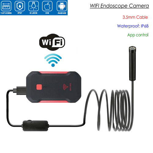 WIFI endoskopkamera, HD 1600x1200 mp4, 3.5M halvstyv kabel - 1
