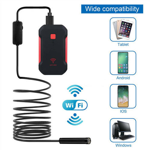 WIFI Камераи Endoscope, HD 1600x1200 mp4, 3.5M Кабель Semi-Rigid - 5