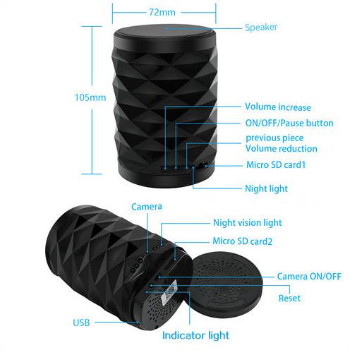 4K WiFi ब्लूटूथ स्पीकर लॅम्प कॅमेरा टू-वे टॉक - 7