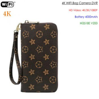 4K WIFI SPY Hidden Bag Kamera, 4000mAh batri, SD Kat Max 128G - 1