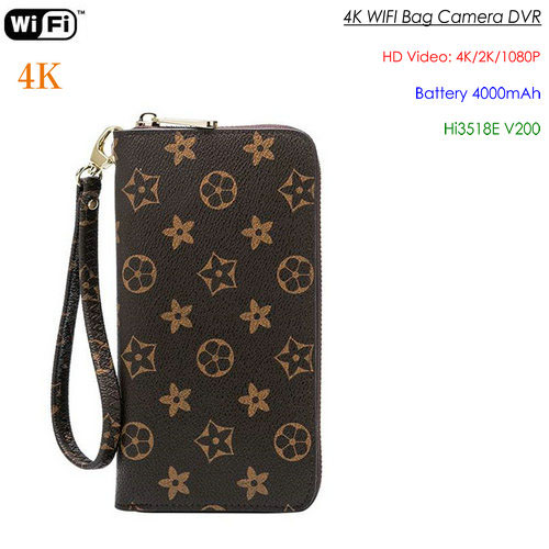 4K WIFI SPY Camera Bag Hidden, 4000mAh batterija, Karta SD Max 128G - 1