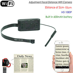 Säädön polttoväli WIFI Pinhole Camera, HD1080P, Focal 2cm-10cm, 600mAh (SPY292) - S $ 288
