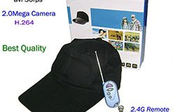 Baseball Cap SPY Camera, with Wireless Remote Control - 1 250px