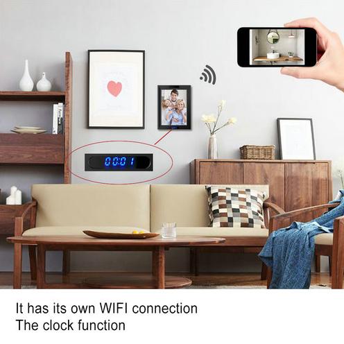 WIFI Ժամացույցի Լուսանկարը Շրջանակ Camera, HD1080P, Ժամացույցի գործառույթը, TF Max 128G, 3500mAh մարտկոցը - 4