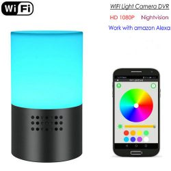 WIFI lampkamera, HD 1080P, 7 Färg LED-ljus, Super Nightvision, Amazon Alexa - 1