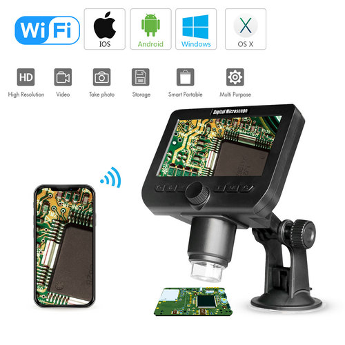 Cámara de microscopio WIFI, 4.3inch LCD, Cámara 2.0MP, 8pcs LED blanco, 50-1000X - 1