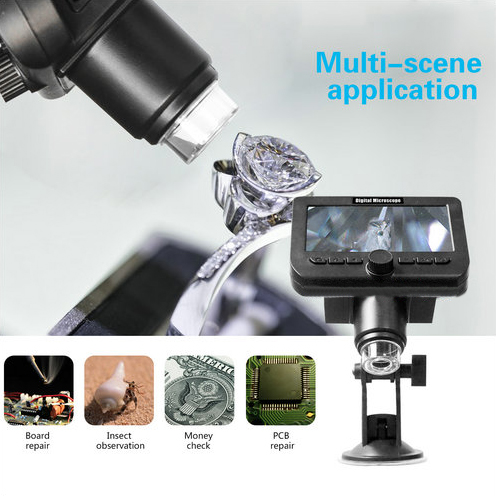 WIFI Microscope Kāmera, 4.3inch LCD, Camera 2.0MP, 8pcs White White, 50-1000X - 3