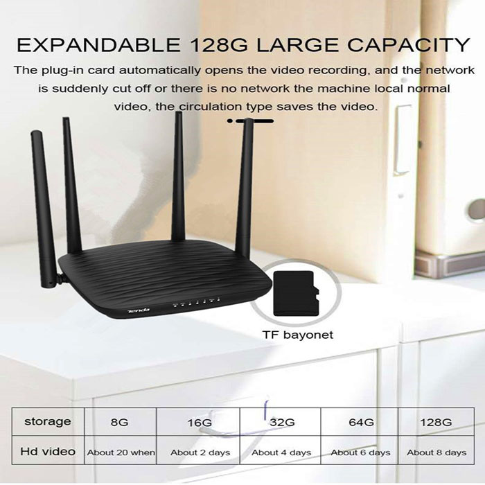 SPY296 - 4K WIFI Router Camera, HD 4K2K, Hisilicon 3518E, 2.0MP Camea,TF Max 128G 03-700x