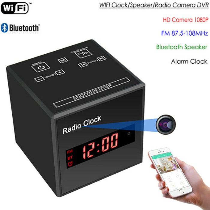 SPY297 - WIFI Clock Camera, WIFI Camera+Clock+Bluetooth Speaker+FM Radio, Nightvision 01