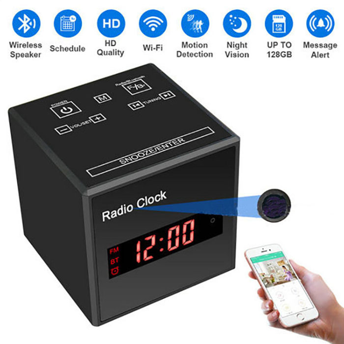 SPY297 - WIFI Clock Camera, WIFI Camera+Clock+Bluetooth Speaker+FM Radio, Nightvision 03