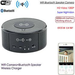 WIFI Speaker Camera, Wireless Charger + Bluetooth Speaker, HI3518 V200, Real HD1080P, 5000mAh (SPY300)