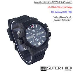 Mababang pag-iilaw 2K Watch Camera, HD1296P / 30fps, H.264 MOV, Itinayo sa 16G, Hindi tinatagusan ng tubig (SPY301)