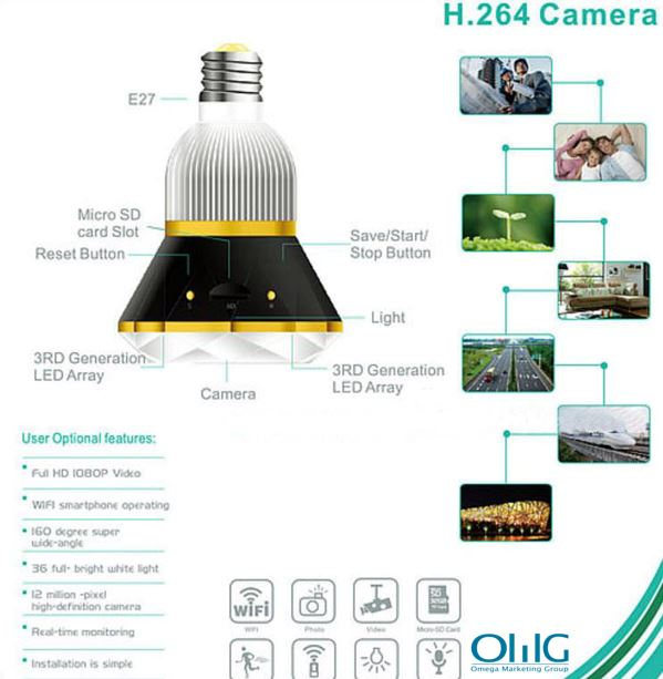 1080P WIFI IP Bulb Camera DVR, 940nm
