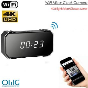 4K Mirror Clock Camera, HD4K2K1080P, 8pcs IR Għal Nightvision, SD Card Max 128G
