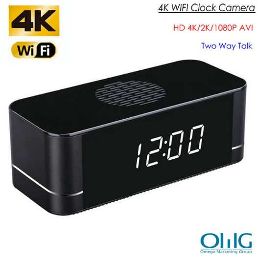 4K WIFI Clock Camera, Speaker Mibni b'żewġ Talk Talk, 3000mAh Battery