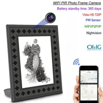720P HD Frame Photo Wi-Fi Ceamara Hidden le Braite Foriarratais PIR