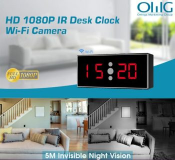 HD 1080P IR Desk Clock Wifi Kamẹra