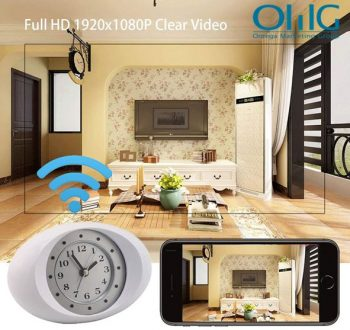1080P HD Kamera tal-Ispaga Moħbija Wireless Wifi IP Camera Clock Clock White