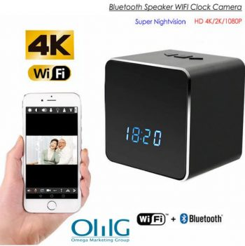 Skrytá špionážní kamera WIFI Bluetooth Speaker Clock, Nightvision