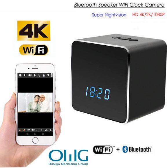 Ikhamera ye-WIFI efihliweyo ye-WIFI ye-Bluetooth Somlomo Clock, i-Night TV