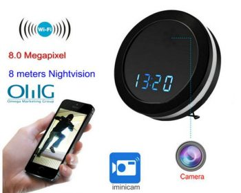 Ceamara Scáthán Oíche WIFI Clock Camera, Two Way Talk, Super Nightvision