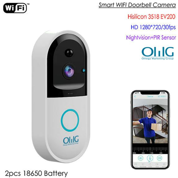 SPY303 - WIFI Smart Doorbell Camera, Hisilicon 3518E Chipset, PIR Sensor, Nightvision, Korero rua-ahua