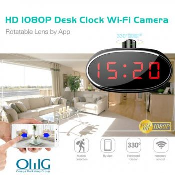I-SPY061 -I-Wifi Alarm Clock efihliweyo Ikhamera ye-330 degree Rotatable Lens for Home