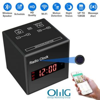 SPY297 - WIFI Clock Camera, WIFI Camera + Orasan + Bluetooth Speaker + FM Radio, Nightvision