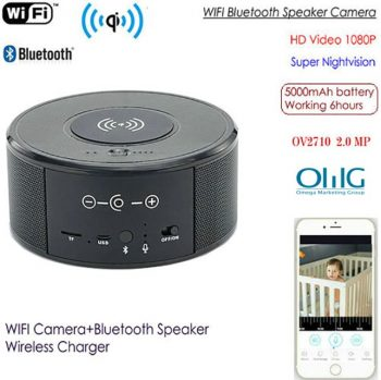 SPY300 - WIFI Speaker Camera, Wireless Charger + Bluetooth Speaker