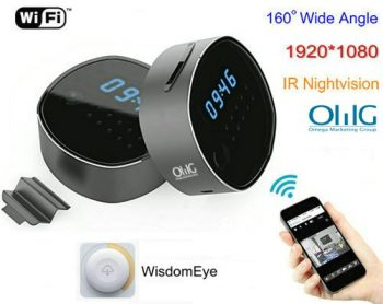 Ikhamera ye-WIFI Clock, HD1080P, H.264, Inkxaso kwiKhadi le-SD 64GB, i-Nightview