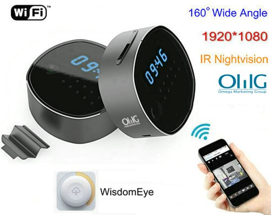 WIFI Clock Camera, HD1080P, H.264, Support SD Card 64GB, Nightvision