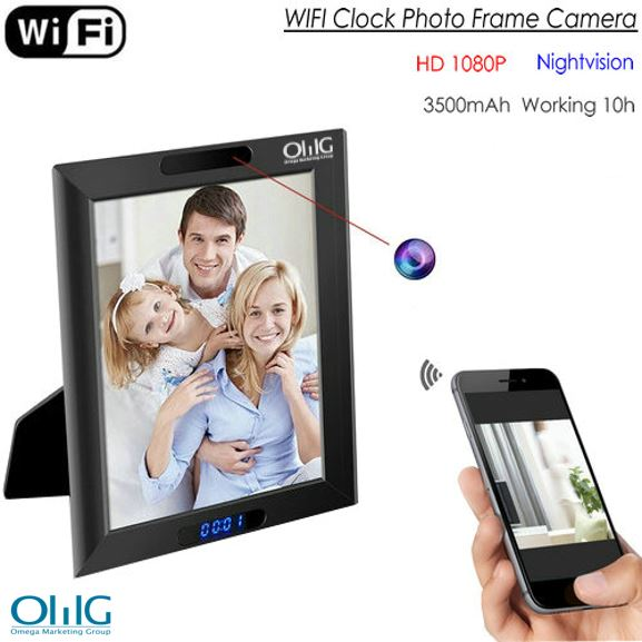 I-WIFI Clock Photo Frame Camera, HD1080P, Clock Umsebenzi, TF Max 128G, 3500mAh ibhetri