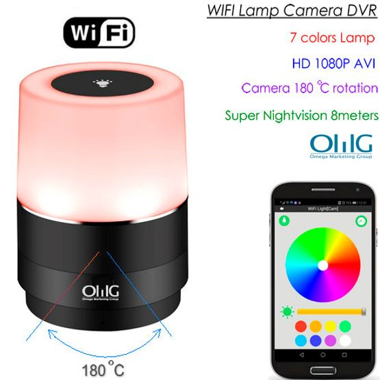 WIFI Lamp Camera, HD 1080P, 180 Deg Camera Rotation, Super Nightvision