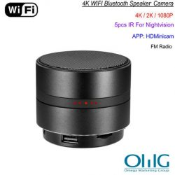 WIFI Network Bluetooth Speaker Camera, HD 4K Video, Max 128G SD Card