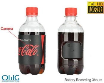 Ūdens pudelēs slēptā kamera, HD1080P 30fps, akumulatora darbības laiks 3hrs