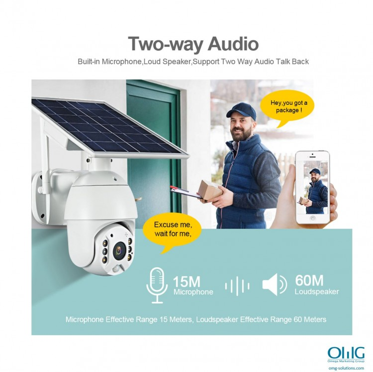 SPY351 - OMG شمسی ، $ g پاور وائی فائی کیمرا - دو طرفہ آڈیو