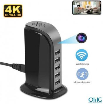 WiFi Spy Hidden 5-USB Car Charger tal-Port, Sejbien ta 'Movimenti, Loop Record, Phone Charging - 1