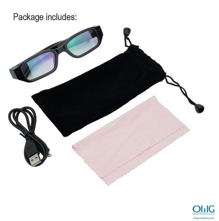 SPY341 - ריגול משקפי חצי מסגרת - משקפיים ומדריך הוראות וכבל USB